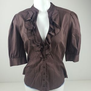 bebe brown ruffle top blouse size large